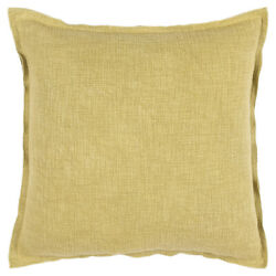 Rizzy Gold Transitional Casual Vintage Flanged Washed Throw Pillow Solid T16499