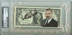 1/1 Tom Selleck Dollar Bill Auto Signed Psa Dna Slabbed Rare Currency