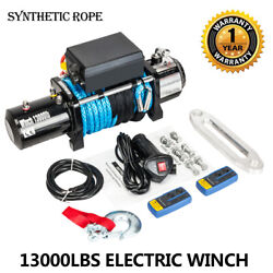 12v 13000lbs Electric Winch Towing Truck Synthetic Rope Off Road
