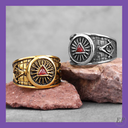Freemaon Maonic Gold Silver Color Ring Punk Hip Hop Stainless Steel