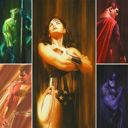Alex Ross Rare Dc Shadows Set Of 5 Paper Giclees Signed New Sdcc 2020 Unframed