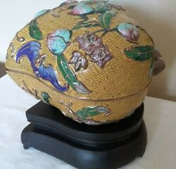 Antique Rare Chinese Reposed Enameled Cloisonne Peach 1900and039s Lucky Box On Stand