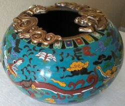 Antique Chinese Cloisonne Dragon 10 Round Bowl