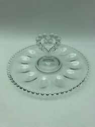 Imperial Glass Candlewick 11 3/4 Deviled Egg Plate/server -heart Handle