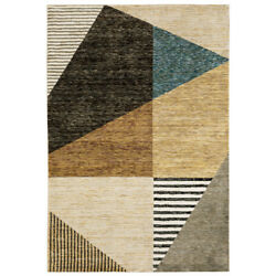 Sphinx Gold Angular Boxed Lines Cubed Contemporary Area Rug Geometric Str10