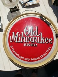 Vtg 1971 Old Milwaukee Beer Advertising Sign Round Bubble