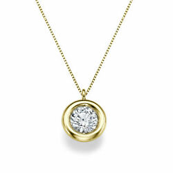 New 14kt Yellow Gold Round Cut Solitaire Diamond Pendant Necklace 1.00 Ct D/vs1