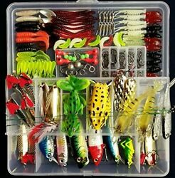 Set Fishing Tackle Box Full Loaded Accessories Hooks Lures Baits Worms