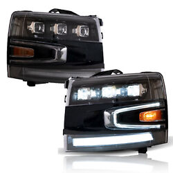 Vland Full Led Projector Headlights Sequential For 07-13 Chevrolet Silverado