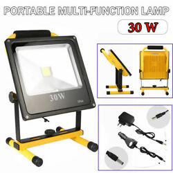 Led Work Light 30w Chargeable Flood Spotlight Battery Power Include Car Charger