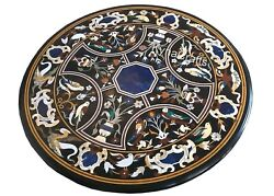 25x25 Inch Marble Patio Coffee Table Top Pietra Dura Art Kitchen Table For Lawn