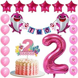 Pink Baby Shark Two Two Decorations Baby Shark Second Birthday Party for Girl $21.99