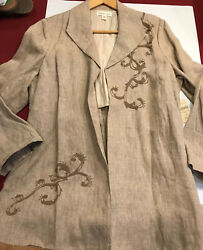 New Coldwater Creek 14 Tan Jacket 100 Linen Embroidered Lined Open Front Women