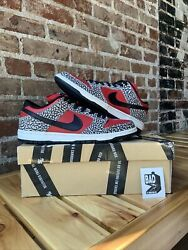 """Nike Sb Dunk Low Supreme """"red Cement"""" Sz 10"""