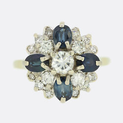 Gold Diamond Ring - Vintage 1970s Sapphire And Diamond Cluster Ring 18ct Gold