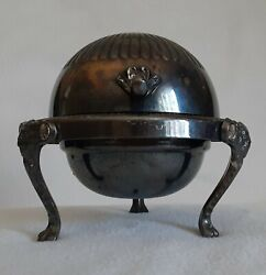 F.b. Rogers Silver Company Silverplate Roll Top Lion Footed Caviar Butter Dish