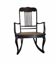 Vintage Mahogany Rocking Chair With Cane Seat. Medium Weight, Sabre Legs And Arm