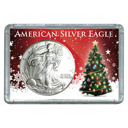 2004 1 American Silver Eagle With Christmas Tree Design Holiday Gift Holder
