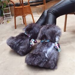 High-tube Womenand039s Snow Boots With Fox Hair Increase European American Style Boot