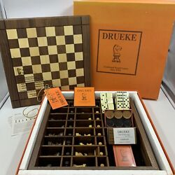 """Drueke Wood Traditional Board Games Complete Game Set 15"""" Double Sided Read"""