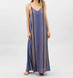 Rip Curl Womenand039s Golden Days Maxi Dress - Blue - Large - Nwt