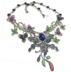 Magnificent Jewel Authentic Sapphire Kashmir Ruby Emerald .925 Sterling Silve