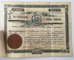 Puritan Gold Mining Company Stock Certificate 1899 Cripple Creek Revenue Stamps