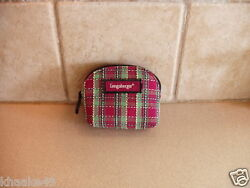 Longaberger Holiday Plaid Coin Purse With Attached Key Ring Nip Free Shipping