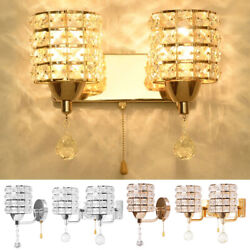 Modern Luxury Crystal Wall Light Sconce Lamb Lighting Fixture Pull Chain Switch