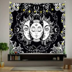 USA Sun and Moon Tapestry Psychedelic Mandala Tapestry Hippie Wall Hanging Decor