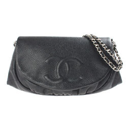 Caviar Skin Coco Mark Chain Shoulder Bag 3rd Stand Leather Black P3275