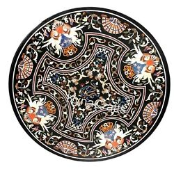 48 Inches Hallway Table Top With Mosaic Art Round Black Marble Dining Table