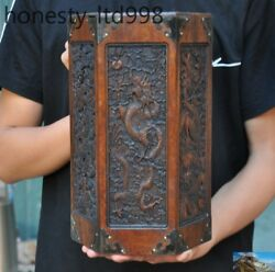 Old China Huanghuali Wood Pure Hand Carved Dragon Statue Brush Pot Pencil Vase