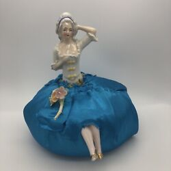 Vintage Porcelain Half Doll Pincushion With Legs Gold Shoes Germany Underskirt
