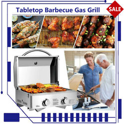 Tabletop Gas Grill 2 Burners Bbq Grid With Foldable Legs Outdoor Camping Picnic