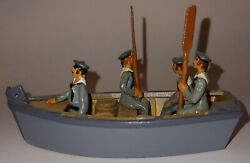 Britains Painted 4 Navy Sailors Oars + Wooden Boat Rowboat Set