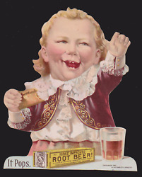1892 Hiresand039 Root Beer Die Cut Trade Card Famous Hiresand039 Boy Eating Hot Dog C911