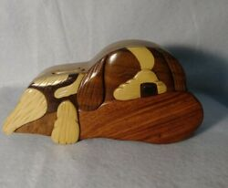 Dog Hideaway Puzzle Box 3d Wooden Puppy Laying Down Hand Carved Vintage 4pc Vtg