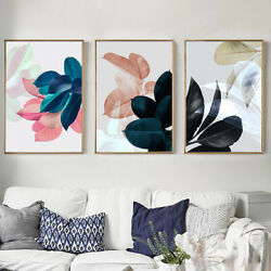 3Pcs Leaf Pattern Canvas Wall Art Painting Printed Picture Home Office Decor