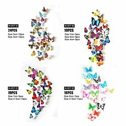 80pcs 3D Mirror Butterfly Wall Stickers Decal Wall Art Removable Room Party Home