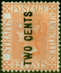 Straits Settlements 1883 2c On 32c Pale Red Sg60 Type 20f Wide E V.f And Fresh