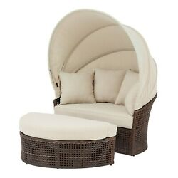 2-piece Outdoor Daybed With Retractable Canopy Wicker Patio Garden Lounger