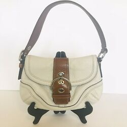 Coach Cream White Pebbled Leather Brown Trim Soho Flap Shoulder Bag Small $35.00