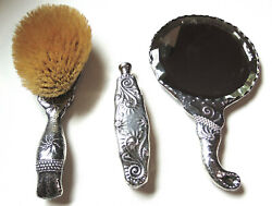 Whiting Sterling Fantasy Pattern Brush Mirror And Perfume Bottle C.1880