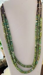 Native American Green African Turquoise Smooth Three Multi Strand