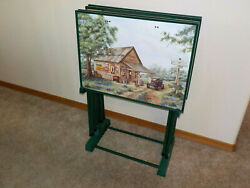 Vintage Set Of Coca Cola Mike's And Martin's Garage Tv Trays 2 Scenes With Rack