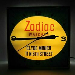 Zodiac Watches Clyde Minich Old Ad Clock Sign Bowed Glass Allentown Pa