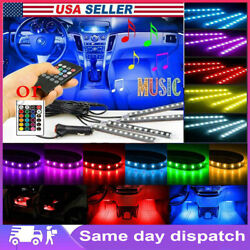 4in1 48 Led Rgb Car Led Interior Atmosphere Light Strip Music Control Remote