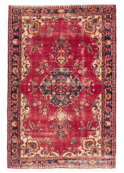 Vintage Hand-knotted Carpet 6and0394 X 9and0399 Traditional Oriental Wool Area Rug