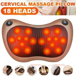 3 Speed Electric Shoulder Neck Back Massager Pillow With Heat Kneading Cushion